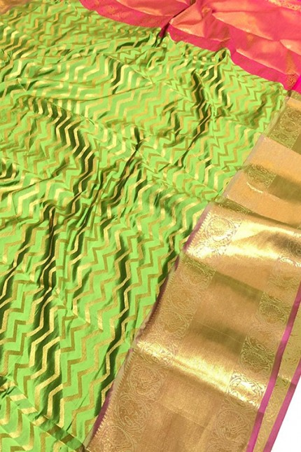 Green Banarasi Silk With Zari Work Saree - gnp009391