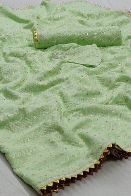Green Colored Silk Saree With Gold Foil Polka and Lace Border - gnp006712