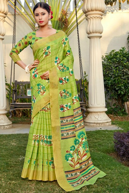 Green Cotton Kasab Zari Patta Saree - gnp006786