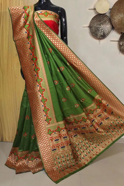 Green Exclusive Meenakari Contrast Border Saree - gnp008037