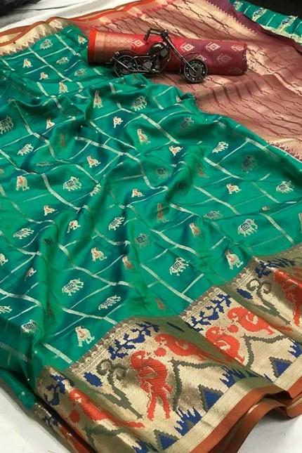 Green saree Online - Soft Banarasi silk woven saree gnp007300 - GrabandPack (Saree)