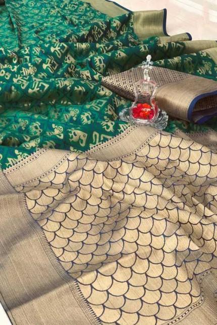 soft Banarasi Patola silk Saree with reach Pallu and Weaving Blouse (Green, gnp007297) - silk sarees online shopping india