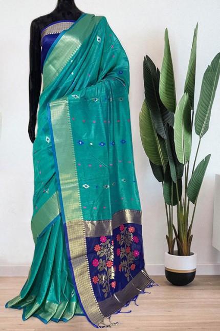 Green Soft Handloom Cotton Weaving Saree - gnp008044