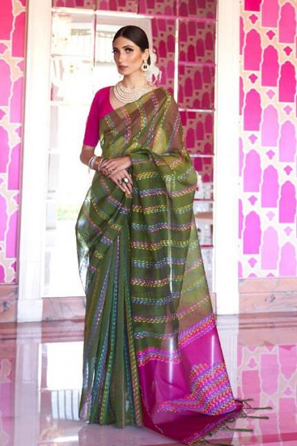 Green Soft Handloom Weaving Silk Saree with Dhaga Work - gnp007290