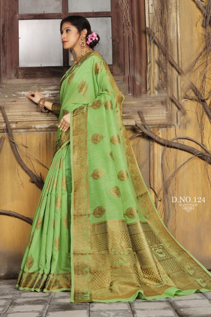 Green Soft Weaving Cotton with Jacquard Border - gnp007580