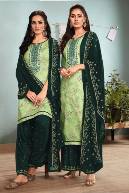 Green Un-Stitched Cotton Satin Suit with Dupatta - gnp007013