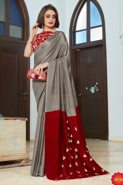 Grey Color Cotton Silk Saree with Fancy Tassels & Digital Printed Blouse - gnp006544