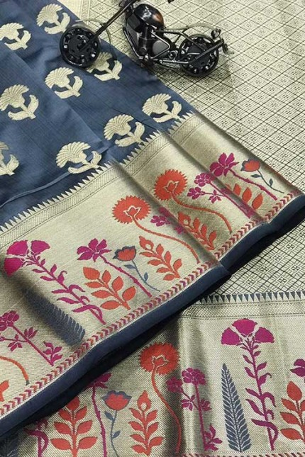 Grey Silk Banarasi Handloom Saree - gnp006424