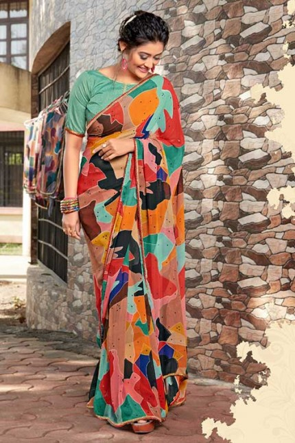 Heavy Weightless Georgette Printed Saree with Lace Border - gnp006950