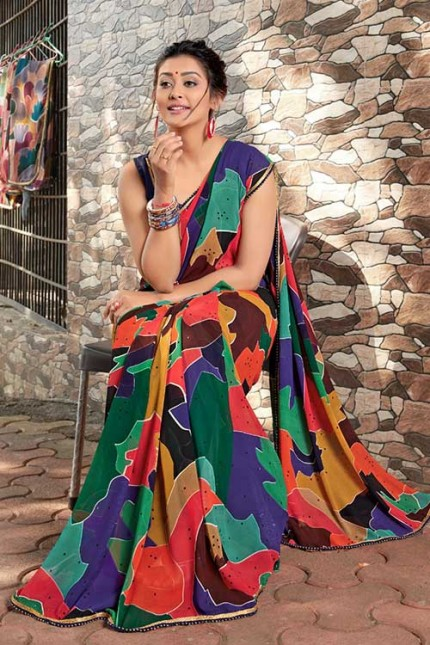 Heavy Weightless Georgette Printed Saree with Lace Border - gnp006951