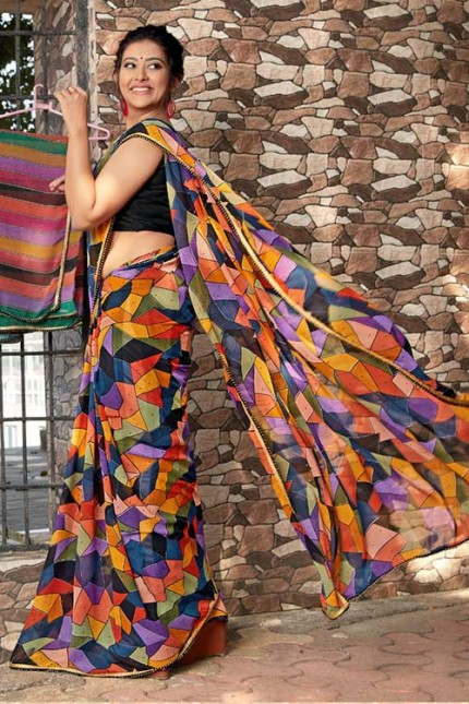 Heavy Weightless Georgette Printed Saree with Lace Border - gnp006952