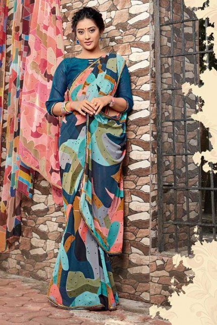 Heavy Weightless Georgette Printed Saree with Lace Border - gnp006953