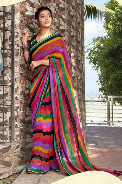 Heavy Weightless Georgette Printed Saree with Lace Border - gnp006954