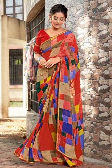 Heavy Weightless Georgette Printed Saree with Lace Border - gnp006955