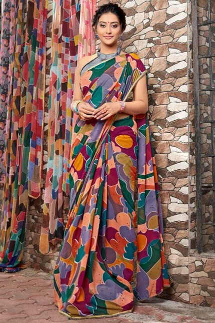 Heavy Weightless Georgette Printed Saree with Lace Border - gnp006956