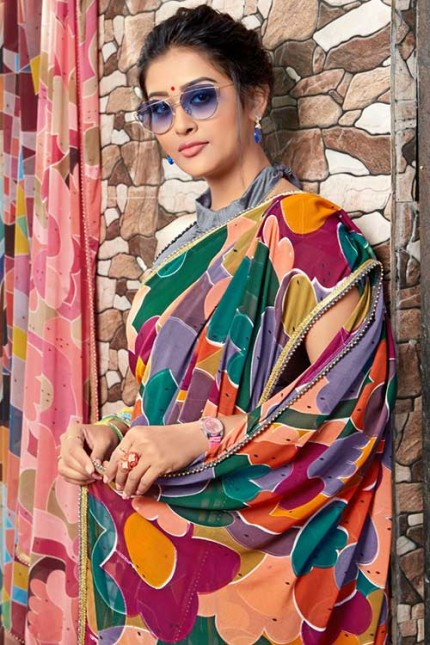 Heavy Weightless Georgette Printed Saree with Lace Border - gnp00695