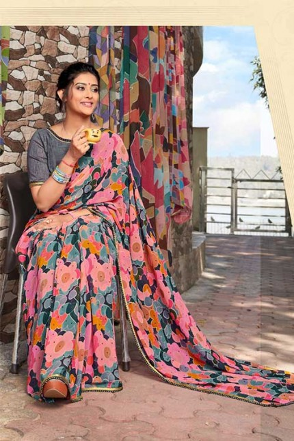 Heavy Weightless Georgette Printed Saree with Lace Border - gnp006960