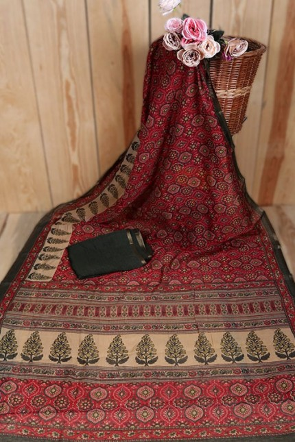 Linen Cotton Saree With Print - gnp007934