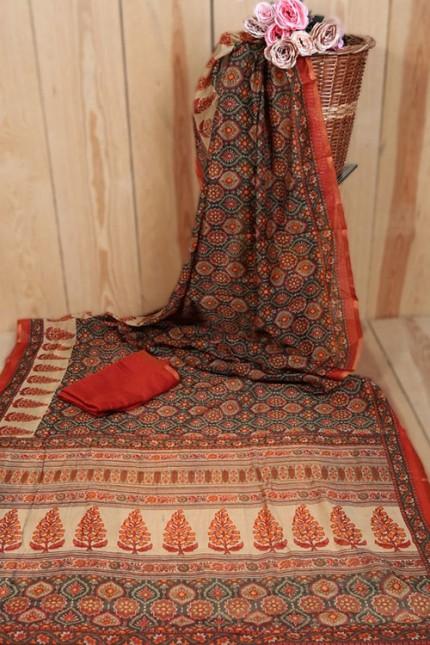 Linen Cotton Saree With Print - gnp007936