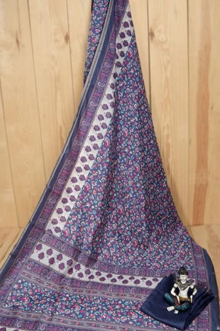 Linen Cotton Saree With Print - gnp007938
