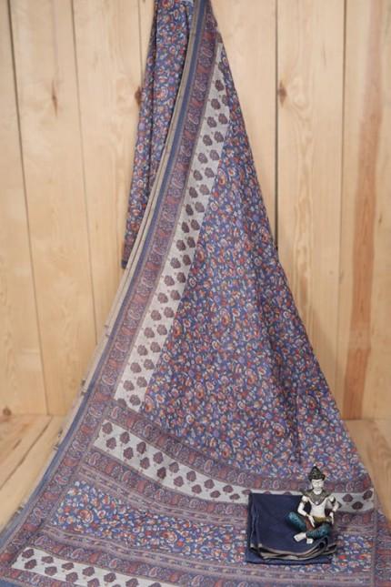 Linen Cotton Saree With Print - gnp007940
