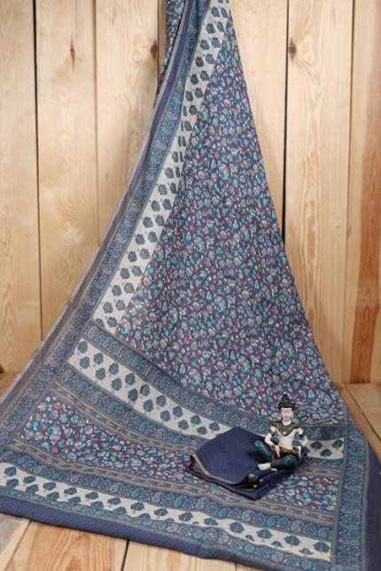 Linen Cotton Saree With Print - gnp007941