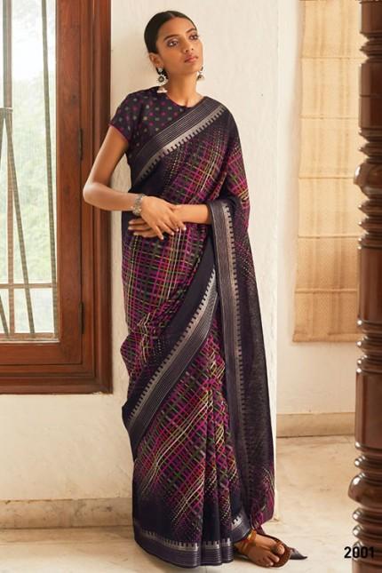 Multi Cotton Silk Saree with Beautiful Print - gnp007613