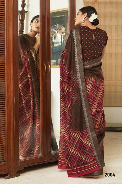 Multi Cotton Silk Saree with Beautiful Print - gnp007616