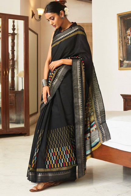 Multi Cotton Silk Saree with Beautiful Print - gnp007617