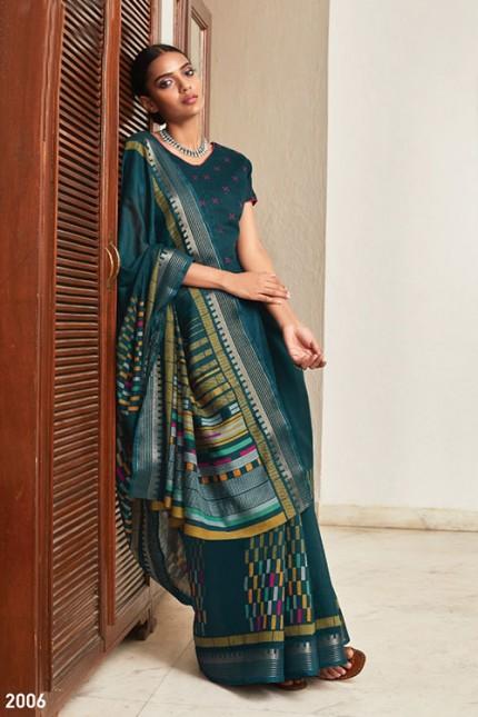 Multi Cotton Silk Saree with Beautiful Print - gnp007618