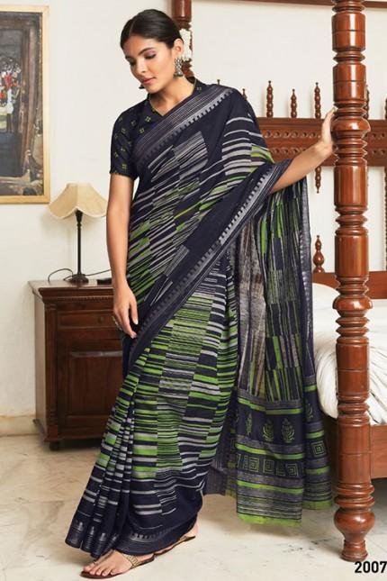 Multi Cotton Silk Saree with Beautiful Print - gnp007619