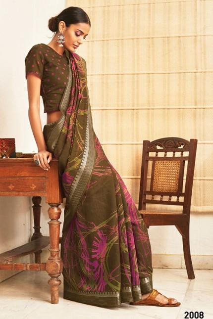Multi Cotton Silk Saree with Beautiful Print - gnp007620