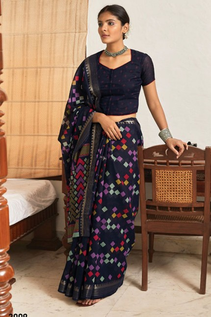 Multi Cotton Silk Saree with Beautiful Print - gnp007621