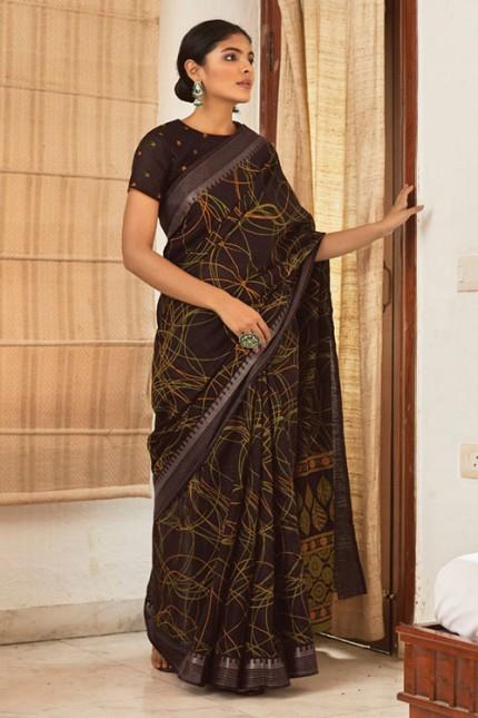 Multi Cotton Silk Saree with Beautiful Print - gnp007622