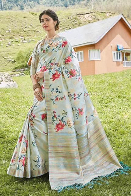 Multicolor Floral Printed Heavy Silk Saree - gnp006501