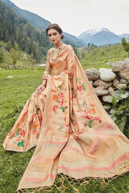 Multicolor Floral Printed Heavy Silk Saree - gnp006502