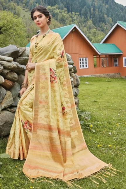 Multicolor Floral Printed Heavy Silk Saree - gnp006503