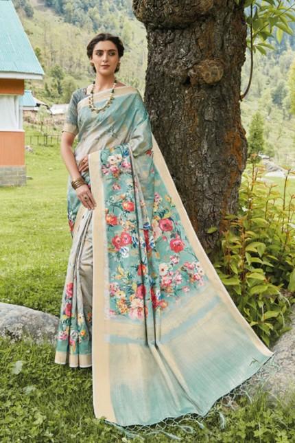 Multicolor Floral Printed Heavy Silk Saree - gnp006504