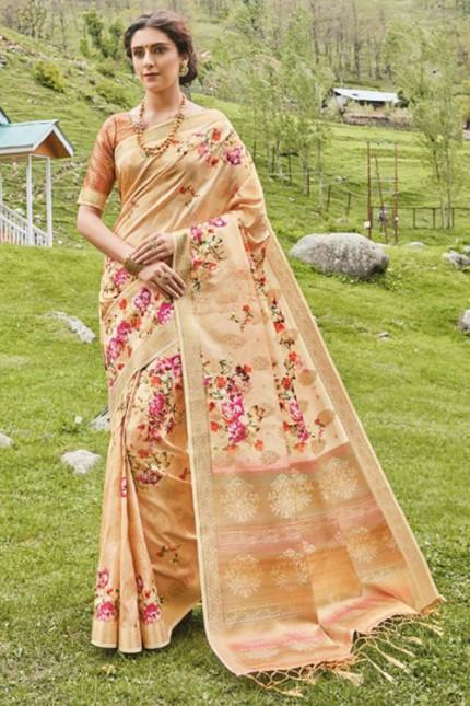 Multicolor Floral Printed Heavy Silk Saree - gnp006505