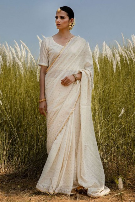 Off White Colored Silk Saree With Gold Foil Polka and Lace Border - gnp006709