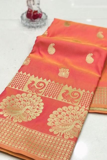 Orange Banarasi Silk Golden Zari Weaving Saree - gnp007945