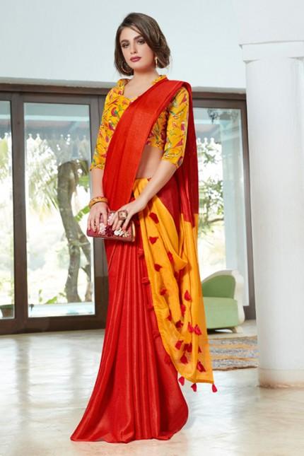 Orange Color Cotton Silk Saree with Fancy Tassels & Digital Printed Blouse - gnp006537