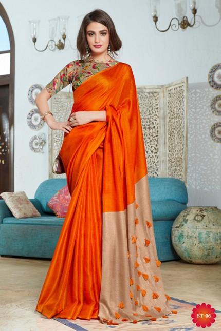 Orange Color Cotton Silk Saree with Fancy Tassels & Digital Printed Blouse - gnp006540