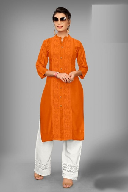 Orange Colored Rayon Kurti With Palazzo - gnp006528