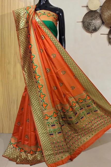 Orange Exclusive Meenakari Contrast Border Saree - gnp008038