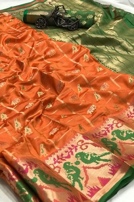 Orange saree Online - Soft Banarasi silk woven saree gnp007302 - GrabandPack