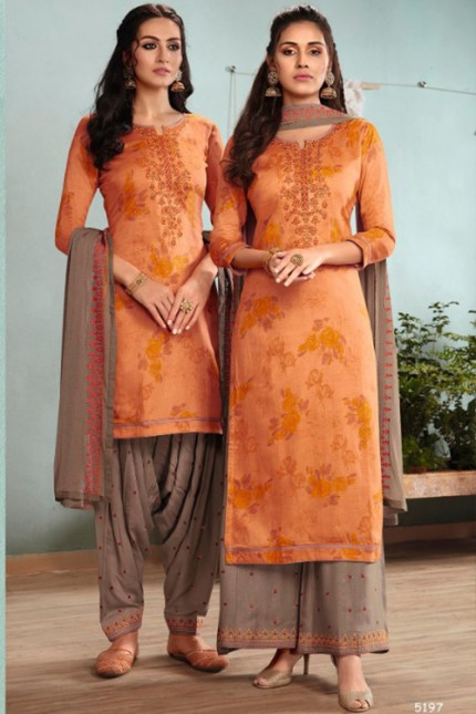 Orange Un-Stitched Cotton Satin Suit with Dupatta - gnp007017