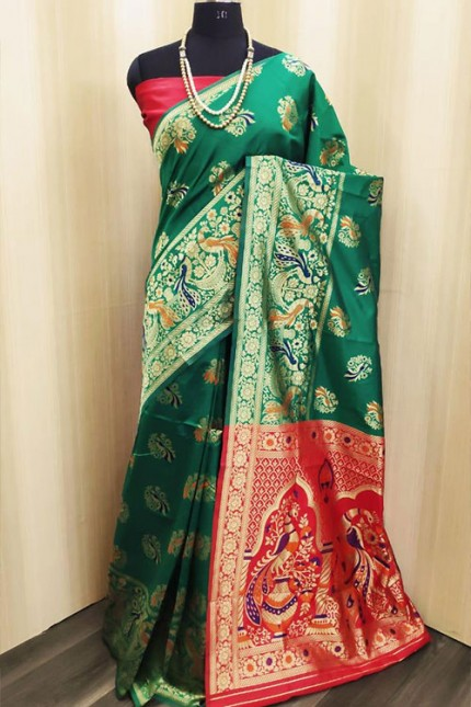 Paithani Saree in Green - gnp006396
