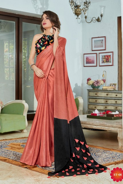 Peach Color Cotton Silk Saree with Fancy Tassels & Digital Printed Blouse - gnp006542