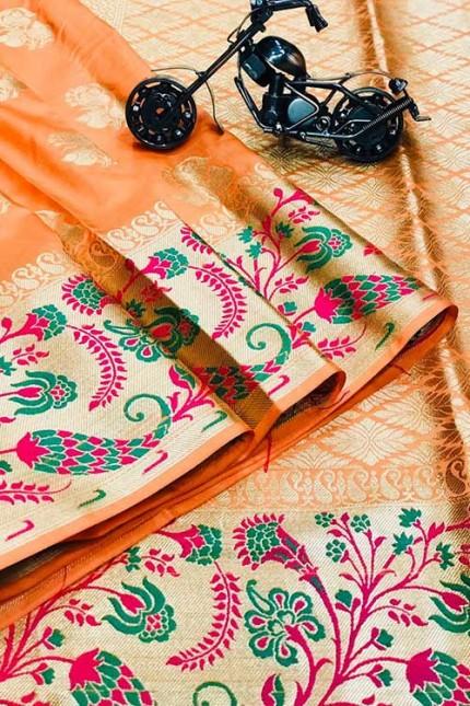 Peach Silk Banarasi Handloom Saree - gnp006426